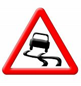 foto of slippery-roads  - Slippery road traffic sign isolated over white background - JPG