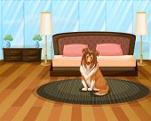 Illustration of a dog sitting in a bedroom