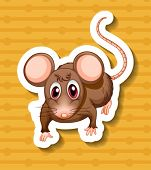 Illustration of a mouse with yellow background