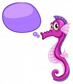 Illustration of a seahorse with thinking bubble