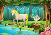 Illustration of a horse in a jungle