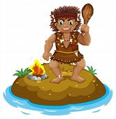 picture of caveman  - Illustration of a caveman on an island - JPG