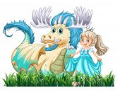 Illustration of a dragon and a princess