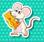 Illustration of a mouse with cheese