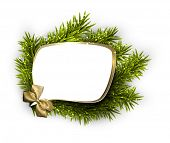 Christmas speech bubble over spruce twigs. Vector illustration.