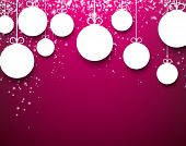 Purple winter abstract background with paper christmas balls and sparkles. Vector.