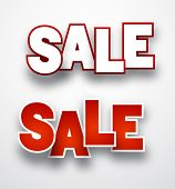 Sale signs over paper white background. Vector illustration.