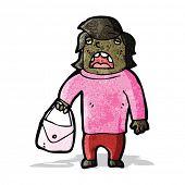 cartoon ugly woman with handbag