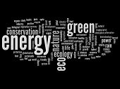 High resolution concept or conceptual abstract green energy and ecology or conservation word cloud text on black background