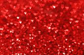 Red hearts bokeh valentines day love background