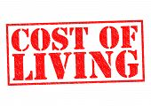 stock photo of loan-shark  - COST OF LIVING red Rubber Stamp over a white background - JPG