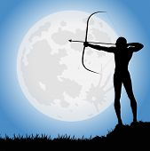 picture of archer  - archer under the full moon in the night - JPG