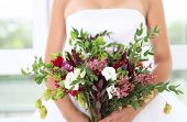 Wedding Bouquet With Succulent Flowers In Retro Style At Hands Of A Bride