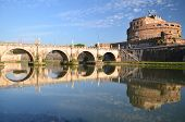 Picturesque view of majestic Castle of Saint Angel over the Tiber river in Rome, Italy