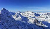 Raw Of Snow Peaks In Jungfrau Region Helicopter View In Winter