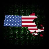 Massachusetts state map flag on hex code illustration