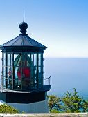 picture of mear  - Cape Meares Lighthouse on the Oregon Coast on a Clear Sunny Day - JPG