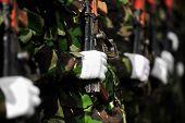 Soldier Hand On Akm Rifle