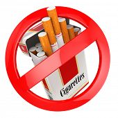 No smoking sign. on white isolated background. 3d