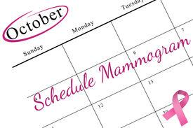foto of mammogram  - Pink breast cancer awareness ribbon on white background - JPG