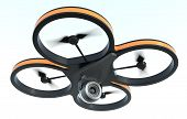 stock photo of drone  - one small drone with a camera on white background also concept of privacy  - JPG