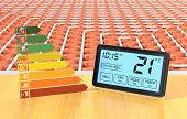 stock photo of programmers  - close up view of a floor heating system with a programmable thermostat and an energy efficiency scale  - JPG