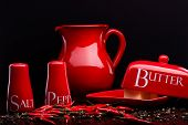 pic of pepper  - Closup of red gloss ceramic salt - JPG