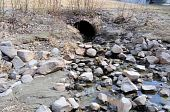 Storm Water Drain carrying Spring Runoff in Alaska