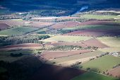 stock photo of lowlands  - Aerial photo taken during a flight over the lowlands of scottland in February - JPG