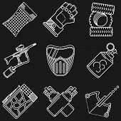 foto of paintball  - White flat line icons vector collection of paintball equipment and accessory on black background - JPG