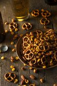 foto of mixed nut  - Seasoned Pub Snack Mix with Nuts and Pretzels - JPG