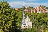 foto of gaudi barcelona  - Park Guell in Barcelona Spain in a summer day - JPG