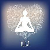 picture of padmasana  - Yoga logo with girl practicing Padmasana  - JPG