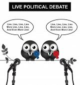 picture of debate  - Monochrome comical live political debate with politicians spouting lies and more lies isolated on white background - JPG