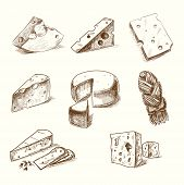 foto of sketche  - Hand drawn doodle sketch cheese with different types of cheeses in retro style stylized - JPG