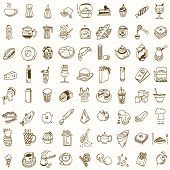 foto of morning  - Morning breakfast lunch or dinner kitchen doodle hand drawn sketch rough simple icons coffee - JPG
