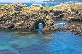stock photo of mendocino  - A view of a Natural arc along the coast of  Mendocino - JPG