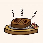foto of high calorie foods  - Fast Food Steak Flat Icon Elements - JPG