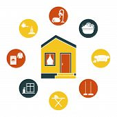 stock photo of cleaning house  - House cleaning vector  - JPG