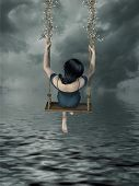 picture of fantasy  - Fantasy girl with hammock in the lake - JPG