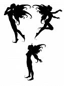 image of fairy  - three silhouettes of isolated fairy in withe background - JPG