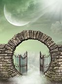 picture of gates heaven  - Fantasy landscape in the heaven with gate - JPG