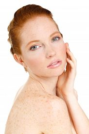 stock photo of freckle face  - Young cute red - JPG