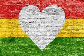 picture of reggae  - Love for reggae music loving painted over white brick wall - JPG