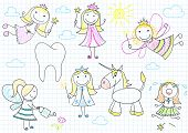 foto of tooth-fairy  - Vector collection of happy little fairies - JPG