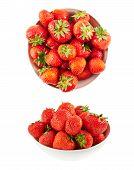 stock photo of ceramic bowl  - Piola ceramic bowl full of ripe strawberries isolated over white background - JPG