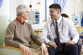 picture of chemotherapy  - Senior Man Undergoing Chemotherapy With Doctor - JPG