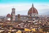 stock photo of mary  - Panorama of Florence and Saint Mary of the Flower in Florence - JPG