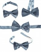 stock photo of foreshortening  - Steel gray bow tie isolated over the white background - JPG