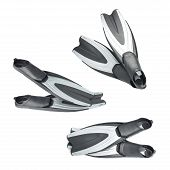 pic of foreshortening  - Swim fin diving black gray full foot flippers isolated over the white background - JPG